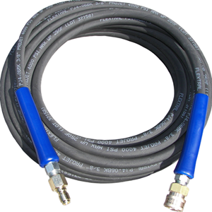 "Picture of 100' x 3/8"" 4,000 PSI Black Hose with QC's"
