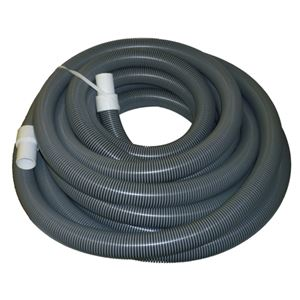 "Picture of 2"" x 50' Gray/Black I-Helix Commercial TM Vacuum Hose with White Cuffs"