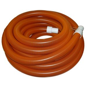 "Picture of 1-1/2"" x 50' Orange/Black I-Helix Commercial TM Vacuum Hose with White Cuffs"