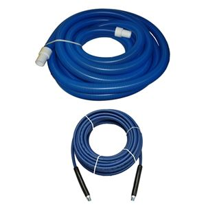 "Picture of 2"" x 50' Blue/BlackVacuum & 1/4"" x 100' Blue Solution Hose Package"