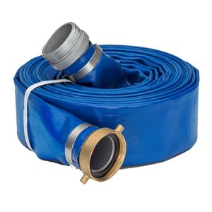 "Picture of 2.0"" x 50' Blue Lay Flat Water Discharge Hose w/Pin Lug Fittings"