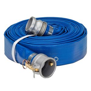"Picture of 1.5"" x 50' Blue Lay Flat Water Discharge Hose w/Cam & Groove Fittings"