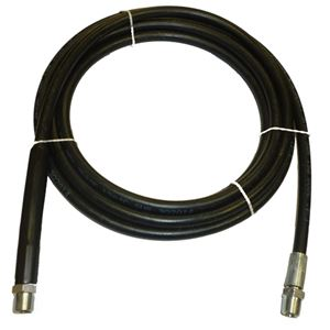 "Picture of Black Smooth Rubber 1/4"" x 18' Boom Hose Assembly 3,000 PSI with 3/8"" MPT"