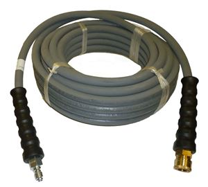 "Picture of 4,000 PSI 3/8"" x 50' Grey Rubber Hose w/ QC Couplers"