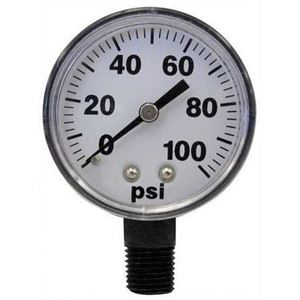 "Picture of Gauge Dry 0 - 100 PSI, 1/4"" BM, 2"", Plastic Case"