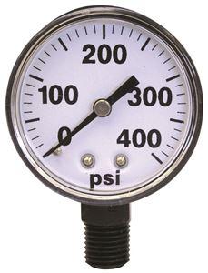 """Picture of Gauge Dry 0 - 400 PSI, 1/4"""" BM, 2"""", Plastic Case"""