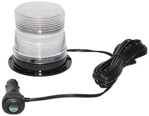 "Picture of 4"" Clear 12/24V High Power Quad-Flash Micro-Burst LED Warning Light w/ Magnet Mount"