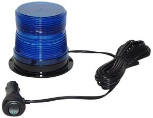 "Picture of 4"" Blue 12/24V High Power Single Flash Micro-Burst LED Warning Light w/ Magnet Mount"