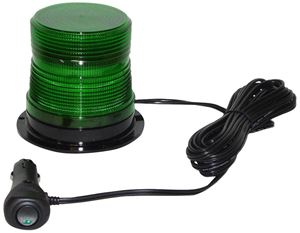"Picture of 4"" Green 12/24V High Power Single Flash Micro-Burst LED Warning Light w/ Magnet Mount"