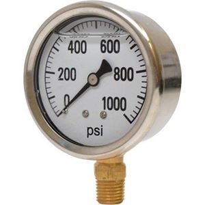 "Picture of 1,000 PSI Bottom Mount 2-1/2"" SS Pressure Gauge"