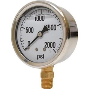 """Picture of 2,000 PSI Bottom Mount 2-1/2"""" SS Pressure Gauge"""