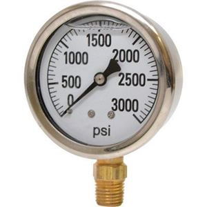 """Picture of 3,000 PSI Bottom Mount 2-1/2"""" SS Pressure Gauge"""