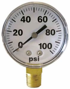 "Picture of Gauge Liquid Filled 0 - 100 PSI, 1/4"" BM, 2-1/2"", SS Case"