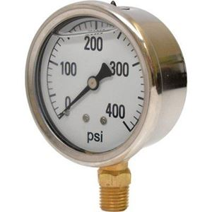 "Picture of Gauge Liquid Filled 0 - 400 PSI, 1/4"" BM, 2-1/2"", SS Case"