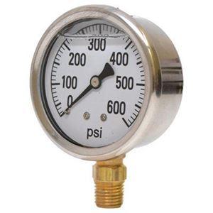 "Picture of Gauge Liquid Filled 0 - 600 PSI, 1/4"" BM, 2-1/2"", SS Case"