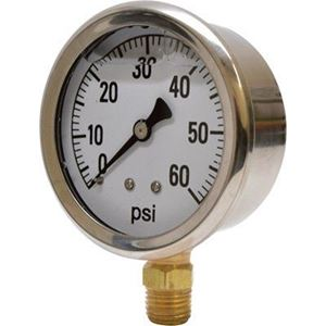 """Picture of 60 PSI Bottom Mount 2-1/2"""" SS Pressure Gauge"""