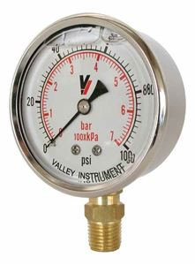 """Picture of 100 PSI Bottom Mount 2-1/2"""" SS Pressure Gauge"""