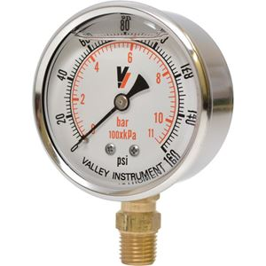 """Picture of 160 PSI Bottom Mount 2-1/2"""" SS Pressure Gauge"""