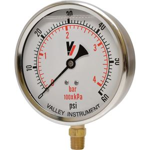 """Picture of 60 PSI Bottom Mount 4"""" SS Pressure Gauge"""