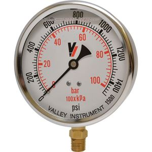 """Picture of 1,500 PSI Bottom Mount 4"""" SS Pressure Gauge"""