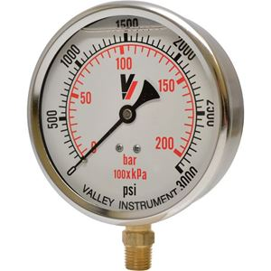 """Picture of 3,000 PSI Bottom Mount 4"""" SS Pressure Gauge"""