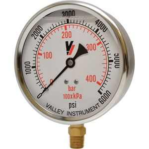 """Picture of 6,000 PSI Bottom Mount 4"""" SS Pressure Gauge"""