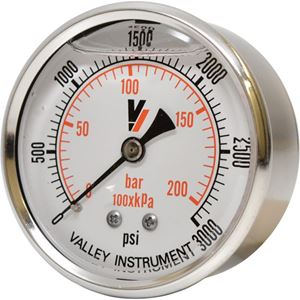 "Picture of 3,000 PSI Back Mount 2-1/2"" SS Pressure Gauge"