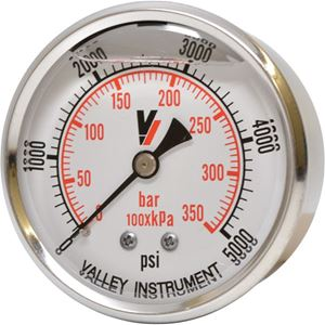 """Picture of 5,000 PSI Back Mount 2-1/2"""" SS Pressure Gauge"""