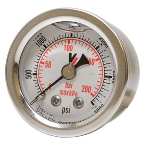 """Picture of 3,000 PSI Back Mount 1-1/2"""" SS Pressure Gauge"""
