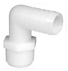 Picture of 3/4 MPT x 1/2 B Elbow Hose Barb Nylon