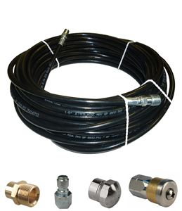 "Picture of Sewer Jetter Kit - 50' x 1/8 Hose, 2 Nozzles & 2 Fittings 1"" to 3"" Pipes"