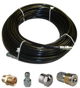 "Picture of Sewer Jetter Kit - 100' x 1/8 Hose, 2 Nozzles & 2 Fittings 1"" to 3"" Pipes"