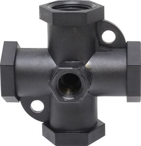 """Picture of Valley Industries Manifold (Cross) 1/2"""" FPT x 1/4"""" Gauge Port Poly"""
