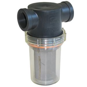 """Picture of DF Clear Bowl Inlet Filter / Strainer 1-1/4"""" NPT-F 80 Mesh"""