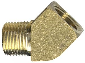 Picture of 1/4 MPT x 1/4 FPT Extruded Brass 45° Street Elbow