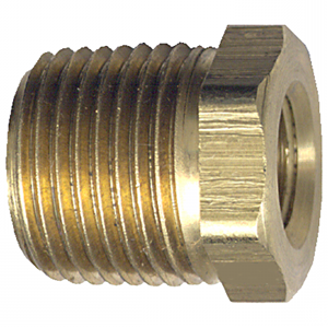 Picture of 1/4 MPT x 1/8 FPT Brass Hex Bushing