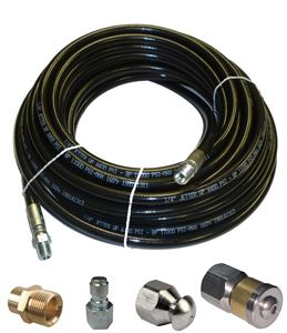 "Picture of Sewer Jetter Kit - 50' x 1/4 Hose, 2 Nozzles & 2 Fittings 2"" to 4"" Pipes"