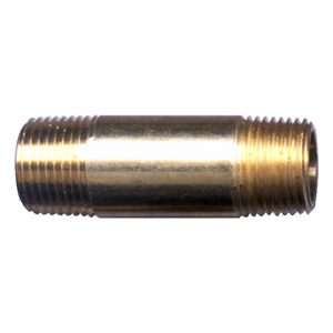 "Picture of 1/4 MPT x 3-1/2"" Brass Long Nipple"