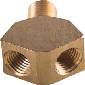 Picture of 1/4 Male Pipe x (2) 1/4 Female Pipe Brass Y Block