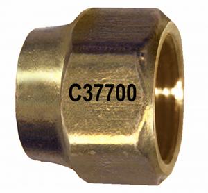 Picture of 5/8 Tube OD To 1/2 Tube OD Forged Brass Reducing Short Nut