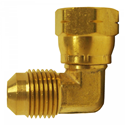 Picture of 1/4 Tube OD Brass 90° Female Swivel Elbow