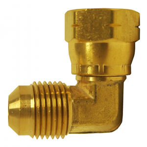 Picture of 3/8 Tube OD Brass 90° Female Swivel Elbow