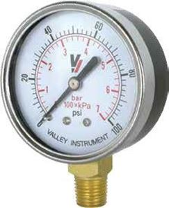 "Picture of 15 PSI Bottom Mount 1.5"" Steel Case Dry Pressure Gauge 1/8"" MNPT"
