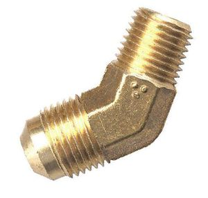 Picture of 3/8 Tube OD x 1/2 MPT Brass 45° Elbow