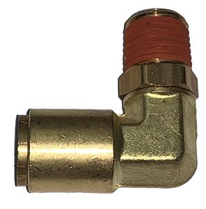 Picture of 1/2 Tube x 1/4 MPT DOT Push-To-Connect 90° Male Swivel Elbow Air Brake Fitting