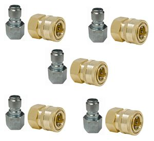 Picture of 10 Pack GP 3/8 Quick Disconnect Fittings 4,000 PSI (5 St Plugs & 5 Br Sockets)