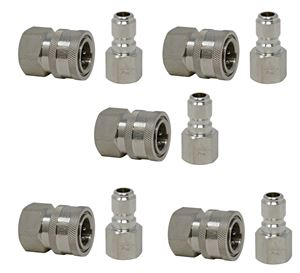 Picture of 10 Pack GP 3/8 Quick Disconnect Fittings 5,000 PSI (5 SS Plugs & 5 SS Sockets)