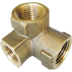 """Picture of 3 Way Brass Unloader Block, 1/2"""" NPT-F x 1/2"""" NPT-F x 3/8"""" NPT-F, 4,000 PSI"""