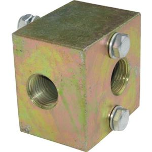 "Picture of 2 Way Steel Unloader Block, 3/8"" NPT-F x 3/8"" NPT-F, Bolt-down, 5,500 PSI"
