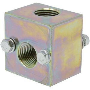 "Picture of 2 Way Steel Unloader Block, 1/2"" NPT-F X 1/2"" NPT-F, Bolt-Down, 5,000 PSI"